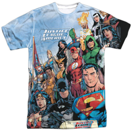 Authentic JLA Justice League Of America Group Team Sublimation Front T-shirt top