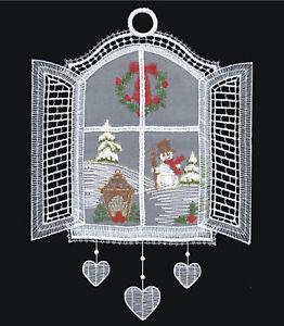 zum Anhängen 25x15 cm Winterbild Fensterbild Schneemann NEU Stoffbild