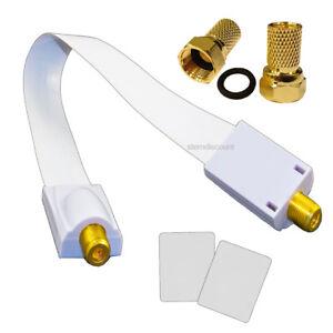 1x Fenster Durchführung Flachkabel SAT 2x F-Stecker Flaches Antennenkabel Buchse