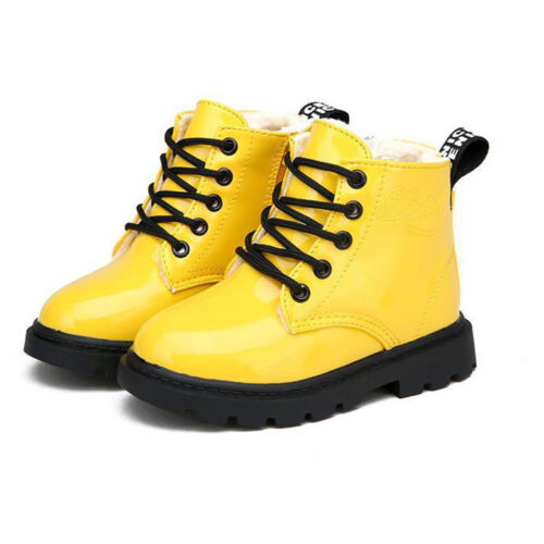 Children Girls Boys Fall Winter Warm Shoes Lace-Up Fur Lined Bovver Ankle Boots