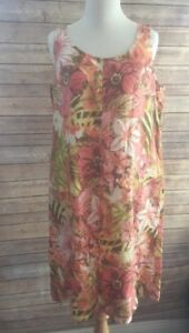 J-Jill-Love-Linen-Floral-Shift-Dress-Pockets-Size-Small