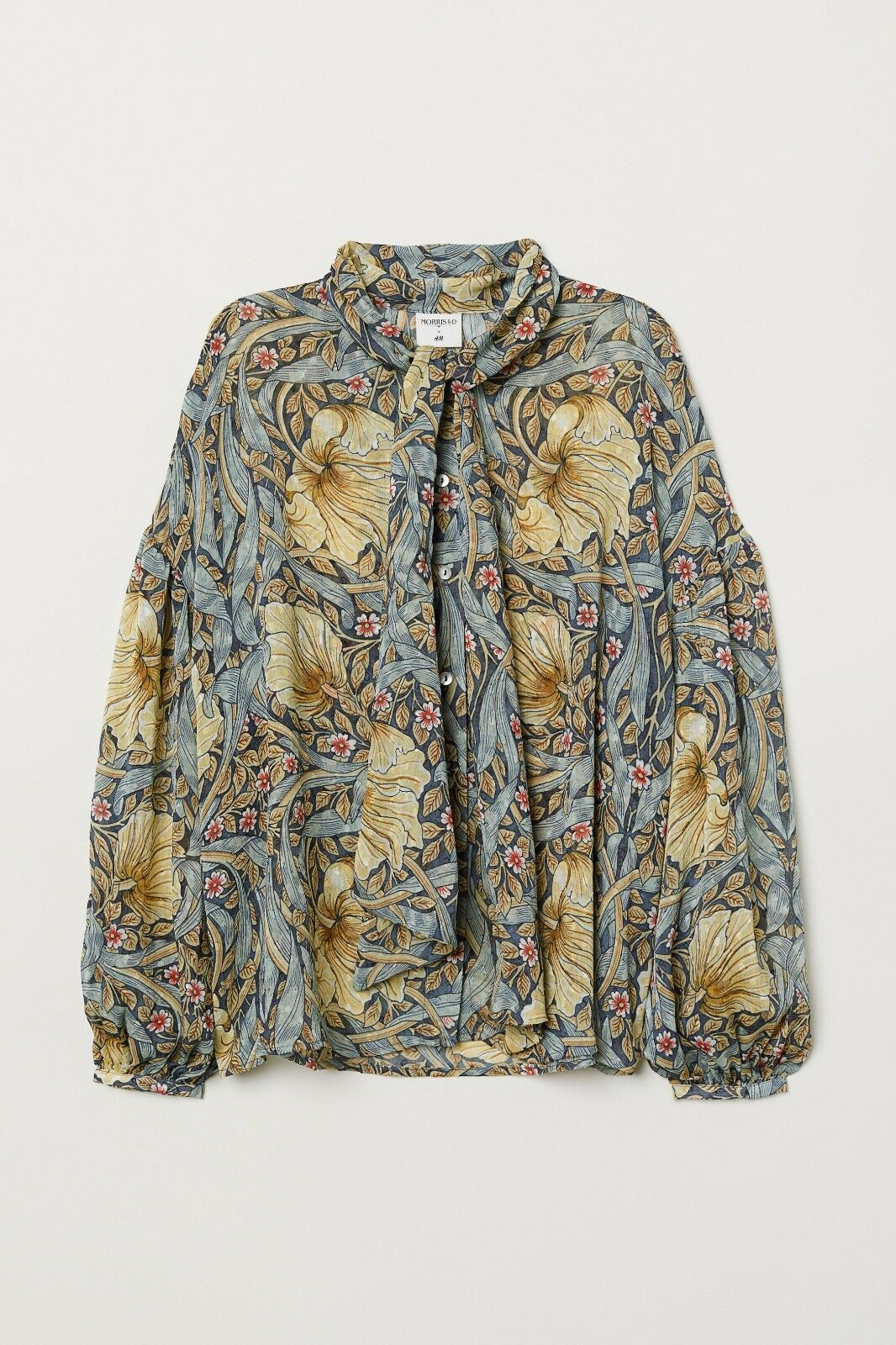 NWT - WILLIAM MORRIS & CO. X H&M blueE YELLOW FLORAL Print BLOUSE, Size 2