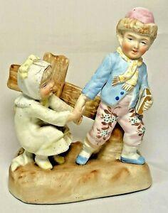 """Bisque Porcelain Schoolboy Children Along Fence Figurine Marked 3376 Vintage 5"""""""
