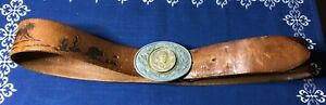 1960s-Distressed-Tooled-Western-Leather-Belt-JOE-Stagecoaches-John-Wayne-Buckle