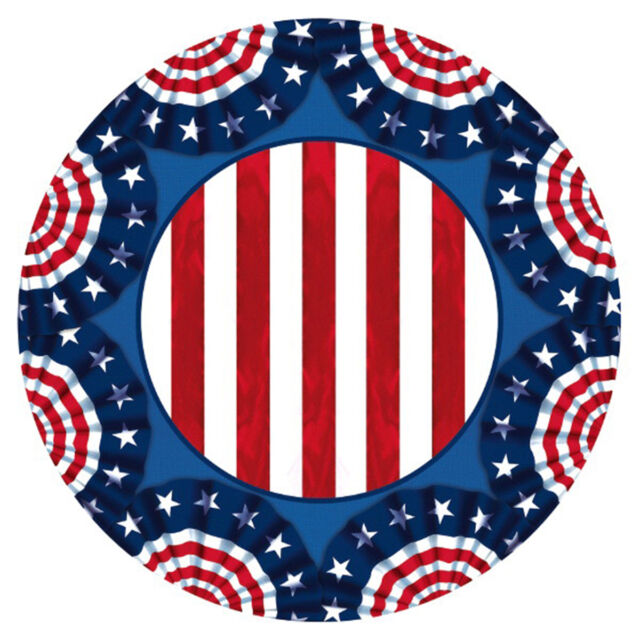 "60 American Pride 4th of July Stars and Stipes Patriotic Party 7"" Paper Plates"