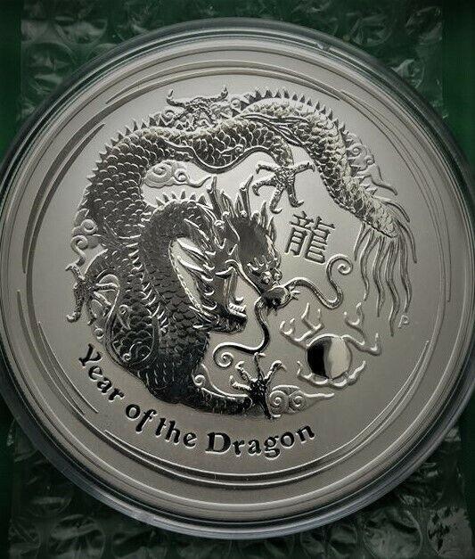 2012 Australia Lunar Series II Year Of The Dragon 1//2 oz .999 Silver Round Coin