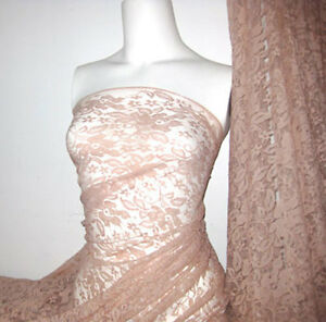 Baby pink 4 way stretch lace Fabric