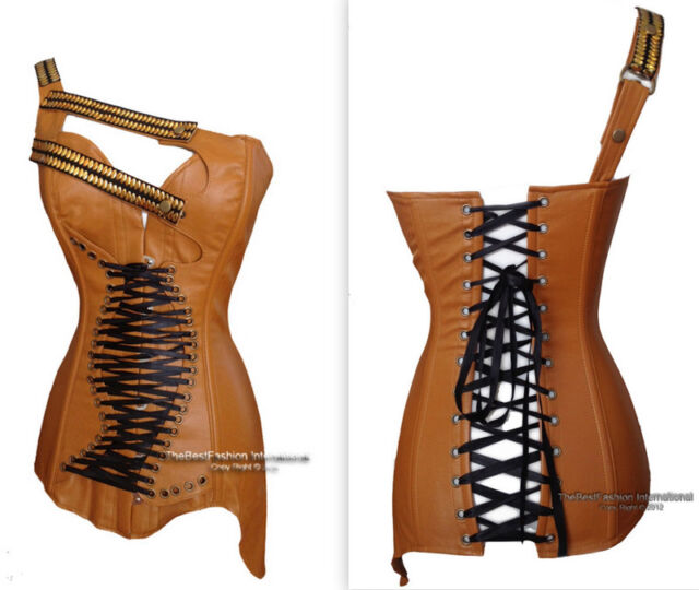 Brown Faux Leather Corset Bustier Overbust Steampunk  buckle lace up /  S-XXl