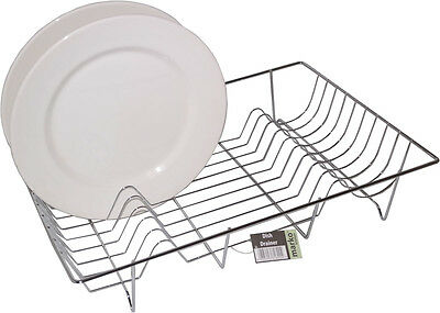 Chrome Plate Dish Drainer Rack Cutlery Holder Kitchen Sink Bowl Cup Draining NEW
