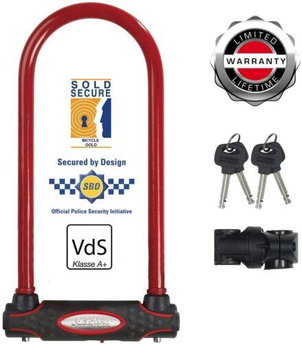 Red Master Lock Heavy Duty Bike D Lock Long Shackle Universal 8195EURDPROLWR