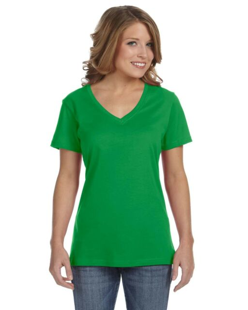 0d480b43e Buy Anvil Ladies  Semi-sheer V-neck T Shirt 392 Green Apple Medium ...
