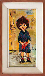 PACO-Signed-Vintage-Mid-Century-1961-Painting-THE-RED-DOLL-Maragret-Keane-Like