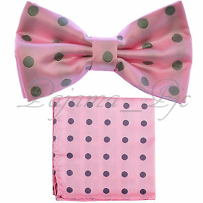 Polka Dots New men's Pre-tied Bow tie and Hanky Set Wedding Prom BT487