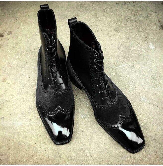 controlla il più economico Handmade Uomo Wingtip stivali, Uomo Suede And Leather Leather Leather Ankle stivali, Uomo ankle stivali  per offrirti un piacevole shopping online