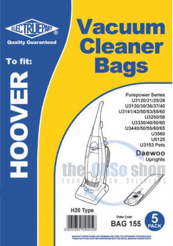 U3258 U3250 U3160 5 x sacchetti per aspirapolvere Hoover H20 tipo per adattarsi PUREPOWER