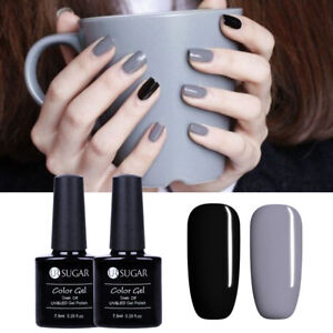 Nail Sugar Uv Varnish Ur Black Lamp Gray Details Led Gel About 5ml 7 Polish Kit 2pcs lc1FKJ