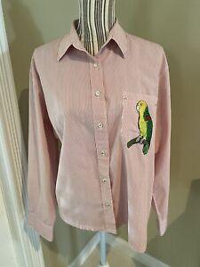 """Vintage Las Olas Women's Size Large Red Striped """"parrot"""" theme  ladies shirt"""