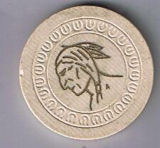 Spokane Club Indian Chief 25¢ Tan Poker Chip  Harp Mold Spokane Washington