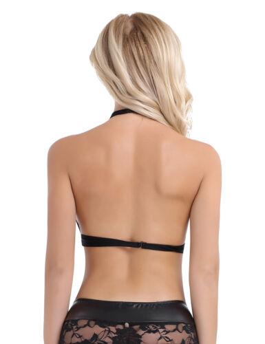 Fashion Women/'s Leather Tank Tops Wetlook Crop Tops Vest Sleeveless Blouse Shirt