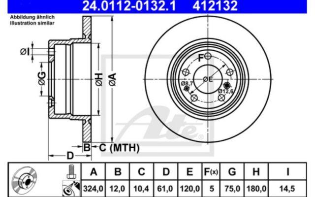 ATE Juego de 2 discos freno 324mm Para BMW 7 8 24.0112-0132.1
