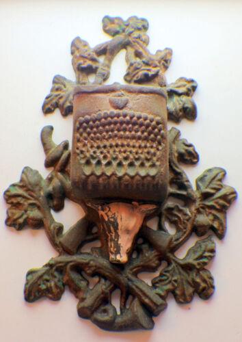 Ornate Blue Ridge Lodge Hunting Match Holder W//Antique Patina Cast Iron #C2586
