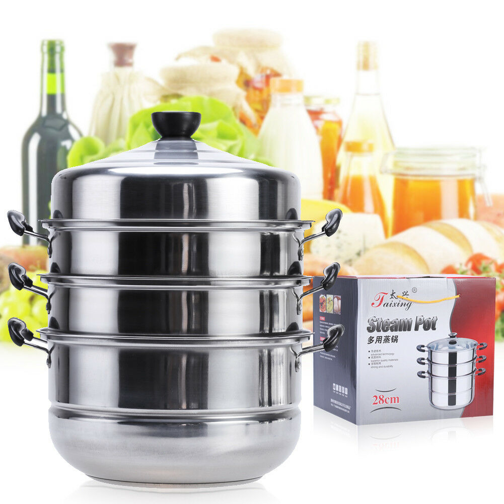 Kitchen Food Steamer Cooker Pot 28cm Stainless Steel Pan Cooking Steamer Set US