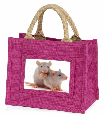 RAT-1BMP Silver Blue Rats Little Girls Small Pink Shopping Bag Christmas Gift