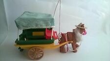 Vintage Sylvanian Families Pony With Cart & Carrot Horse Trap Retired Accessorie
