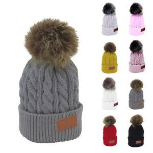 2PCS Women Kids Baby Mom Warm Winter Knit Beanie Fur Pom Pom Hat Crochet Ski Cap