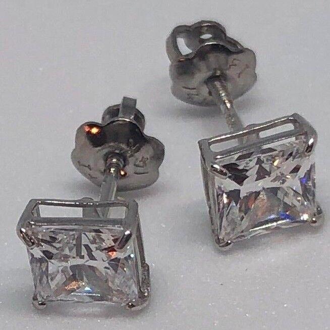 Cubic Zirconia 14K Princess Cut White gold 6mm 1ct