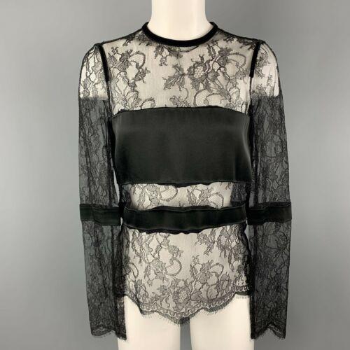 EMANUEL UNGARO Size 2 Black Lace Satin Stripe Pane