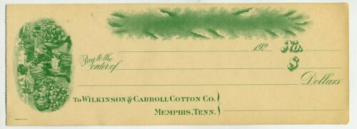 CHECK 192 MEMPHIS TENN COTTON GRET ILLUSTRATION HANDS WORKING COTTON FIELD