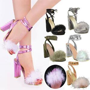 New Womens Ladies Fluffy Fur Pom Pom High Heel Party Sandals Strappy ... 2379b29e03e1