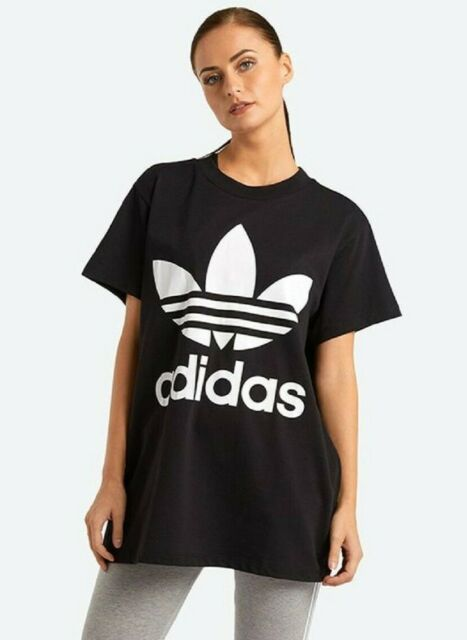 adidas Womens Big Trefoil Tee Black White Logo Short Sleeve T Shirt L