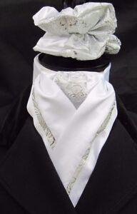 DéTerminé Prêt Lié Blanc & Silver Paisley En Soie Synthétique Dressage équitation Stock & Chouchou-afficher Le Titre D'origine