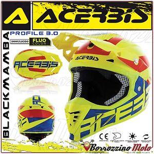 ACERBIS-CASCO-PROFILE-3-0-BLACKMAMBA-MX-MOTOCROSS-OFFROAD-GIALLO-FLUO-BLU-TG-S
