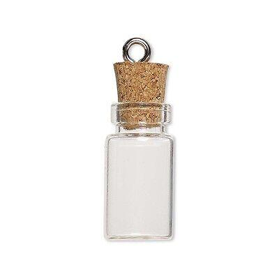 Little Clear Empty Glass Bottle Keepsake Jar Charm Pendant W/ Cork Lid & Loop