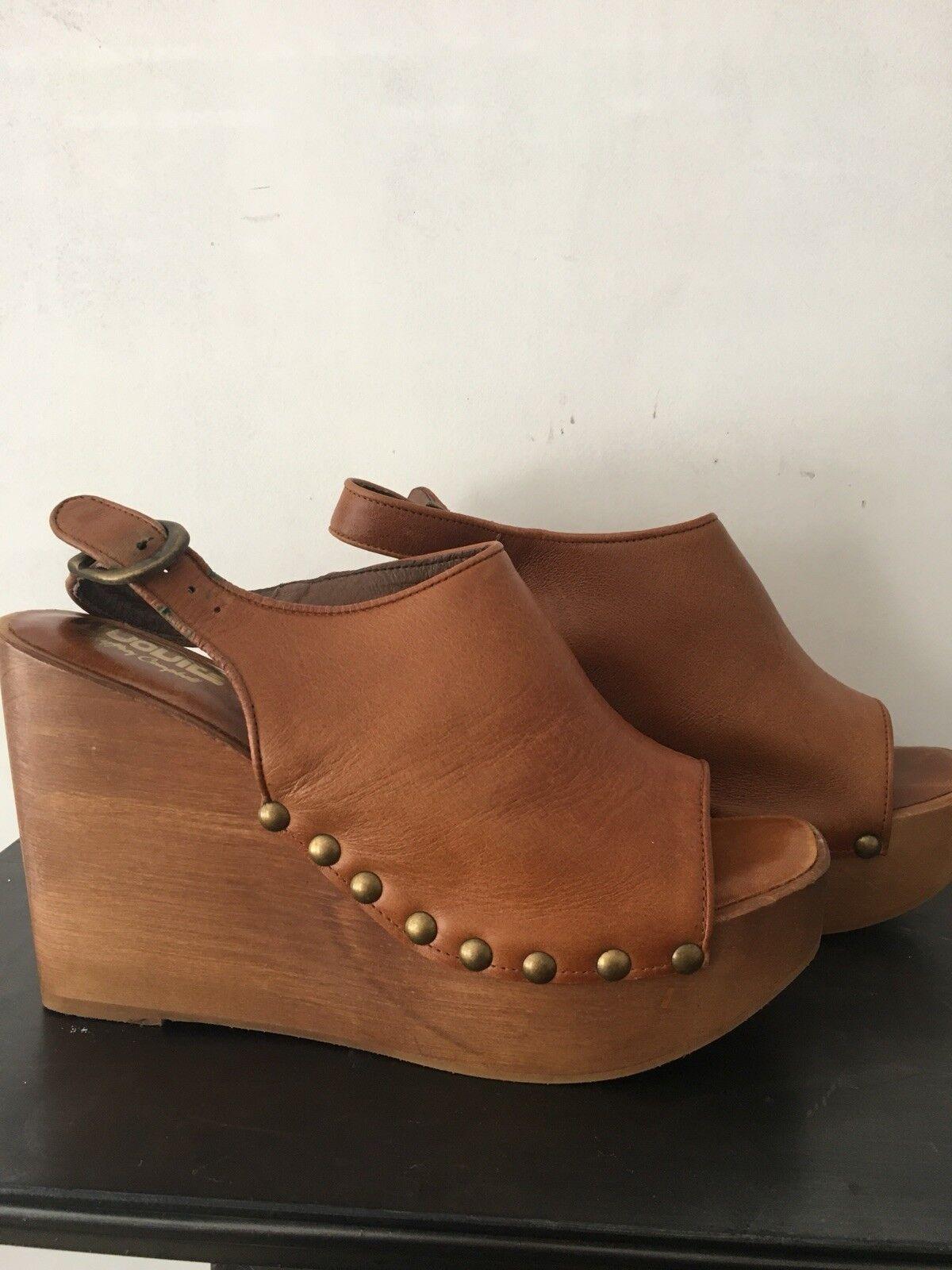 Zapatos De Cuero Jeffery Campbell 'Zueco' Cuña tan UK 41 41 41 8  Totalmente NUEVO   descuento de ventas en línea