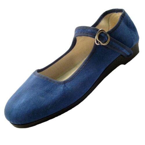 Chinaschuhe chinesische Samtschuhe Samtballerinas jeansblau blau 33-42 Ballerina
