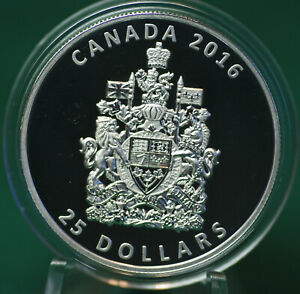 2016-Canada-Coat-of-Arms-piedfort-extra-thick-25-pure-silver-coin