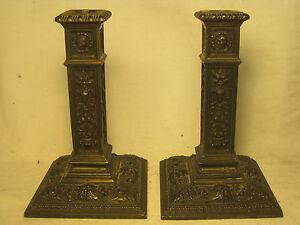 Antique-candle-holders-1909-ornate-metal-columnar-candlesticks-1-damaged