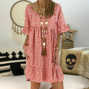 Women-Boho-Floral-Casual-Tunic-Dress-Summer-Loose-Beach-Sundress-Plus-Size