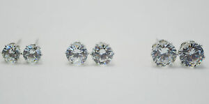 3-Pack-Pair-Set-18K-White-Gold-Plated-5mm-6mm-7mm-Clear-Round-CZ-Stud-Earrings