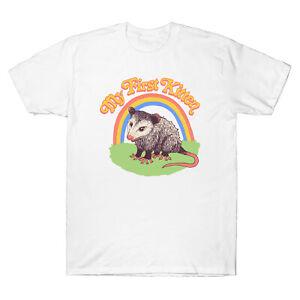 Possum-mon-premier-Chaton-Drole-Hommes-T-Shirt-en-coton-a-manches-courtes-Design-Tee-Cadeau