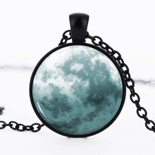Blue Moon Noir Dôme Verre Cabochon Chaîne Collier Sautoir Pendentif #51