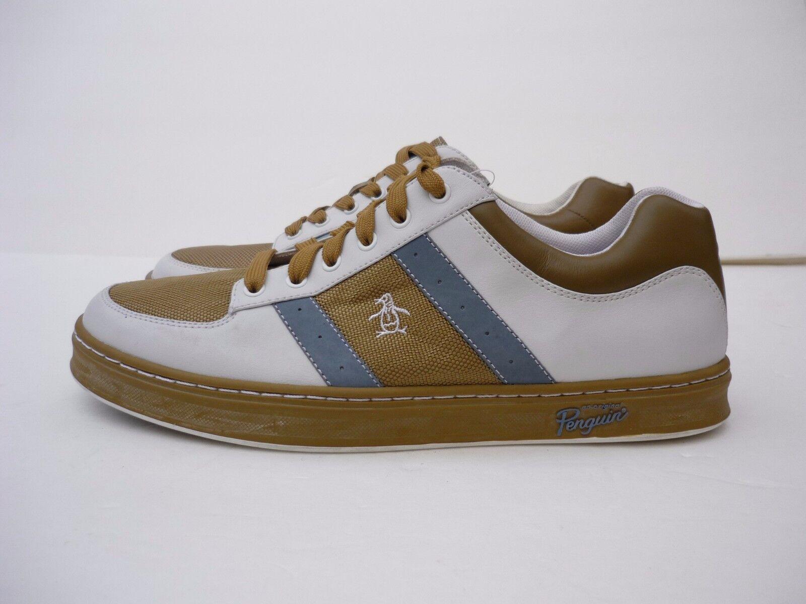 Original Penguin Men's Shoes Jingle Leather Sneakers White Faded Denim Size 9