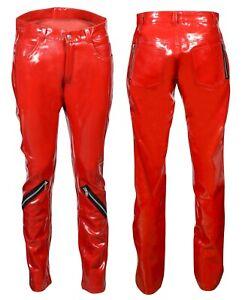 All-New-Trendy-Women-039-s-Banned-PVC-VINYL-RED-Emo-Punk-Skinny-Zipper-Pants