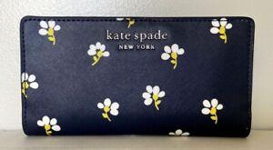 New Kate Spade Cameron Large Slim Bifold Leather wallet Daisy Toss Nightcap