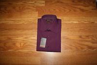 Mens Ben Sherman Burgundy L/s Collar Button Up Dress Shirt 17 1/2 32-33