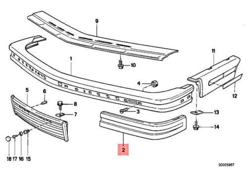Genuine BMW E24 635CSi M6 M635CSi Rubber Strip Bumper Front Left 51111967617